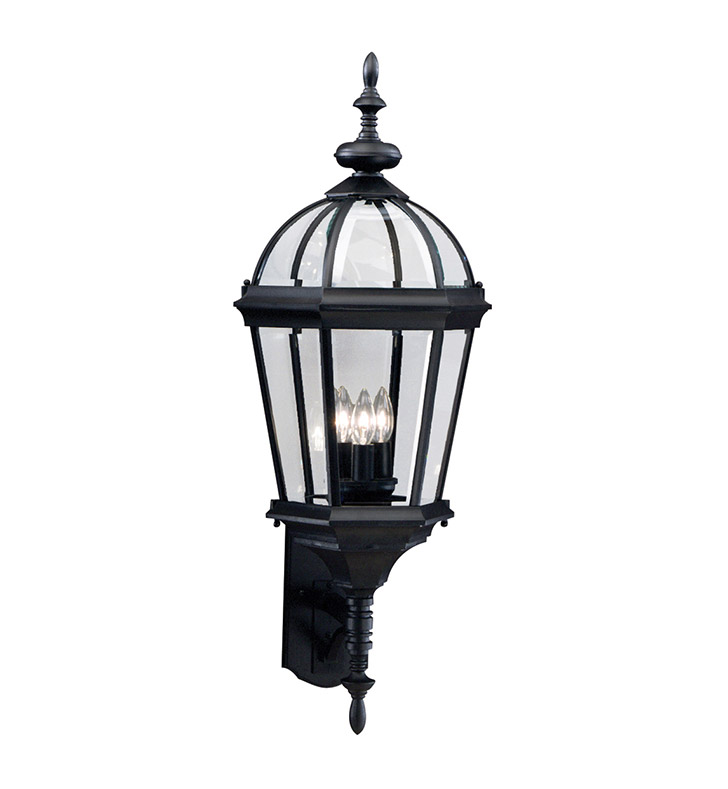 Kichler 9252BK Trenton Collection 3 Light Outdoor Wall Sconce in Black (Painted)
