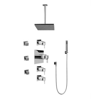 Graff GC1.221A-LM39S Qubic Tre Contemporary Square Thermostatic Set with Body Sprays and Handshower