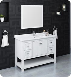 "Fresca FVN2348WH Manchester 48"" White Traditional Bathroom Vanity with Mirror"