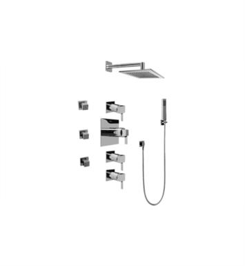 Graff GC1.222A-LM39S-SN Qubic Tre Contemporary Square Thermostatic Set with Body Sprays and Handshower With Finish: Steelnox (Satin Nickel) And Rough / Valve: Trim + Rough