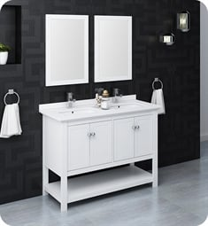"Fresca FVN2348WH-D Manchester 48"" White Traditional Double Sink Bathroom Vanity with Mirrors"