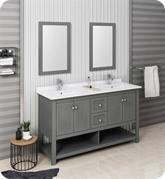 "Fresca FVN2360VG-D Manchester Regal 60"" Gray Wood Veneer Traditional Double Sink Bathroom Vanity with Mirrors"