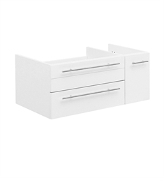 "Fresca FCB6136WH-UNS-R Lucera 36"" White Wall Hung Undermount Sink Modern Bathroom Cabinet - Right Version"