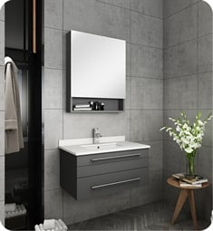 "Fresca FVN6130GR-UNS Lucera 30"" Gray Wall Hung Undermount Sink Modern Bathroom Vanity with Medicine Cabinet"