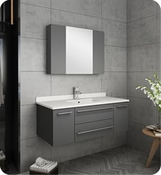 "Fresca FVN6142GR-UNS Lucera 42"" Gray Wall Hung Undermount Sink Modern Bathroom Vanity with Medicine Cabinet"