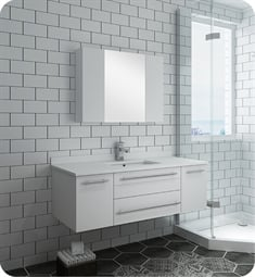 "Fresca FVN6148WH-UNS Lucera 48"" White Wall Hung Undermount Sink Modern Bathroom Vanity with Medicine Cabinet"