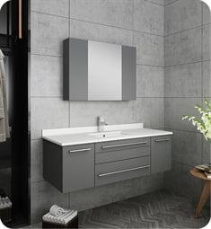 "Fresca FVN6148GR-UNS Lucera 48"" Gray Wall Hung Undermount Sink Modern Bathroom Vanity with Medicine Cabinet"