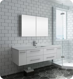 "Fresca FVN6160WH-UNS Lucera 60"" White Wall Hung Single Undermount Sink Modern Bathroom Vanity with Medicine Cabinet"