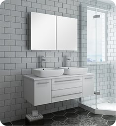 "Fresca FVN6148WH-VSL-D Lucera 48"" White Wall Hung Double Vessel Sink Modern Bathroom Vanity with Medicine Cabinet"