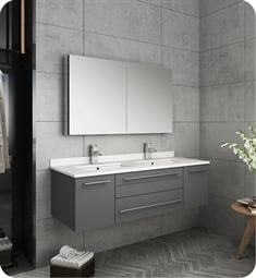 "Fresca FVN6148GR-UNS-D Lucera 48"" Gray Wall Hung Double Undermount Sink Modern Bathroom Vanity with Medicine Cabinet"