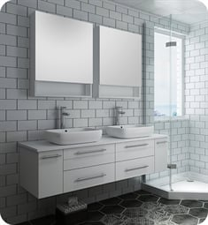"Fresca FVN6160WH-VSL-D Lucera 60"" White Wall Hung Double Vessel Sink Modern Bathroom Vanity with Medicine Cabinets"