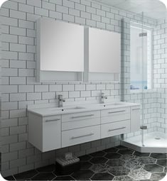 "Fresca FVN6160WH-UNS-D Lucera 60"" White Wall Hung Double Undermount Sink Modern Bathroom Vanity with Medicine Cabinets"