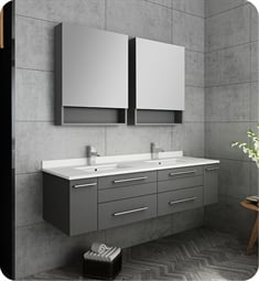 "Fresca FVN6160GR-UNS-D Lucera 60"" Gray Wall Hung Double Undermount Sink Modern Bathroom Vanity with Medicine Cabinets"
