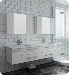 "Fresca FVN6172WH-UNS-D Lucera 72"" White Wall Hung Double Undermount Sink Modern Bathroom Vanity with Medicine Cabinets"