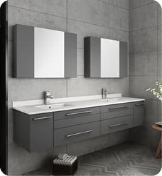 "Fresca FVN6172GR-UNS-D Lucera 72"" Gray Wall Hung Double Undermount Sink Modern Bathroom Vanity with Medicine Cabinets"