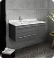 "Fresca FCB6136GR-UNS-R-CWH-U Lucera 36"" Gray Wall Hung Modern Bathroom Cabinet with Top & Undermount Sink - Right Version"
