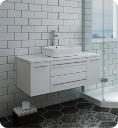 "Fresca FCB6142WH-VSL-CWH-V Lucera 42"" White Wall Hung Modern Bathroom Cabinet with Top & Vessel Sink"