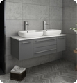"Fresca FCB6148GR-VSL-D-CWH-V Lucera 48"" Gray Wall Hung Modern Bathroom Cabinet with Top & Double Vessel Sinks"