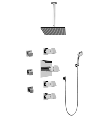 Graff GC1.231A-C10S Contemporary Square Thermostatic Set with Body Sprays and Handshower
