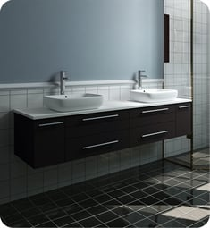 "Fresca FCB6172ES-VSL-D-CWH-V Lucera 72"" Espresso Wall Hung Modern Bathroom Cabinet with Top & Double Vessel Sinks"