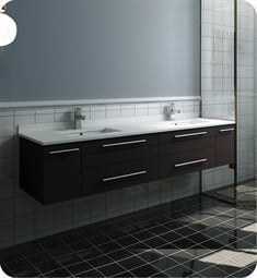 "Fresca FCB6172ES-UNS-D-U Lucera 72"" Espresso Wall Hung Modern Bathroom Cabinet with Top & Double Undermount Sinks"
