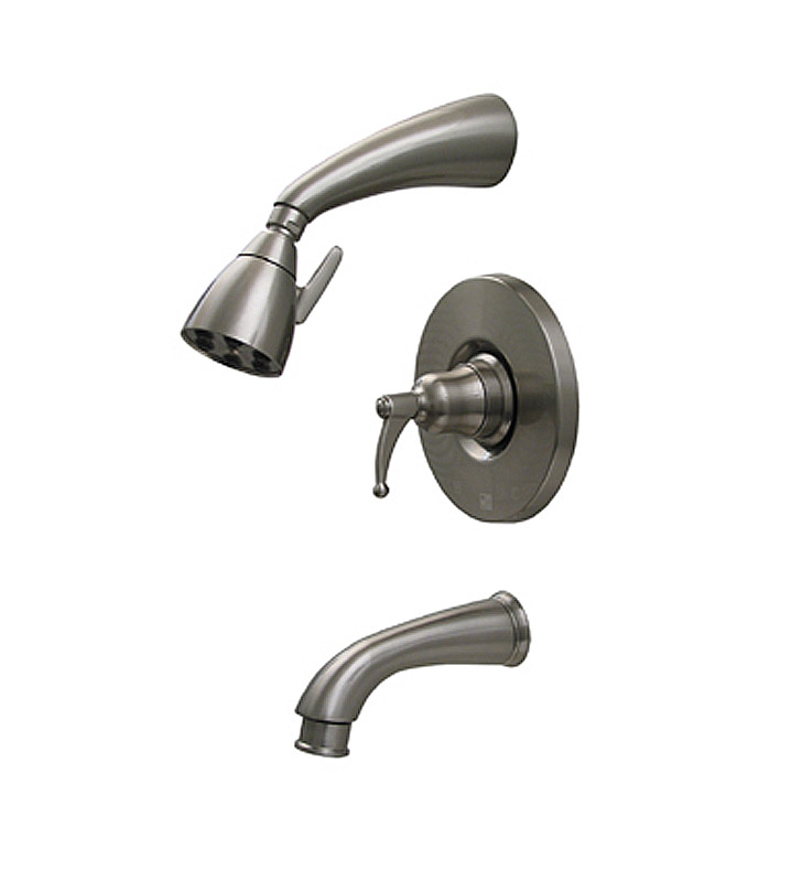 Whitehaus 614.835PR-P Blairhaus Adams Pressure Balance Valve with Showerhead, Tub Spout with Pull-down Diverter and Bell-shaped Lever Handle With Finish: Pewter