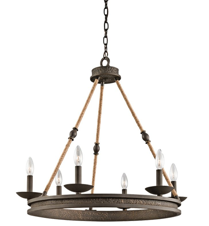 Kichler 43423OZ Kearn Collection Chandelier 6 Light in Olde Bronze