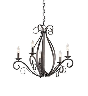 Kichler 43463SMG Kambry Collection Chandelier 5 Light in Grey