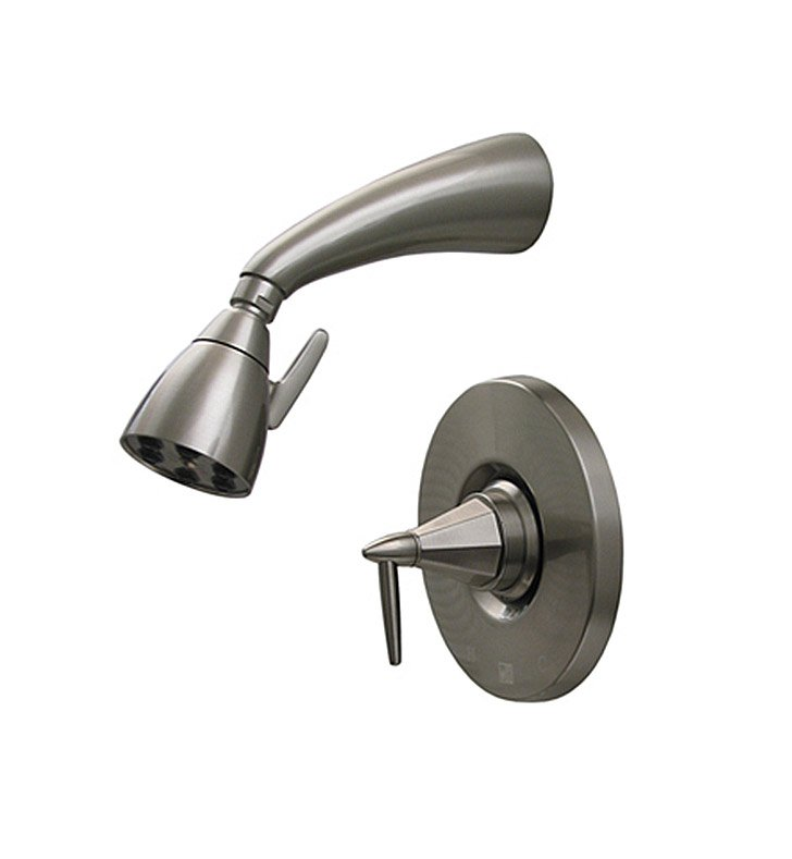 Whitehaus 614.858SH-BN Blairhaus Monroe Pressure Balance Valve with Showerhead and Octagon-shaped Lever Handle With Finish: Brushed Nickel