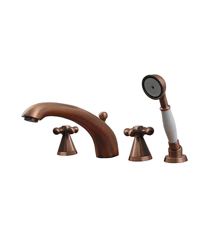 Whitehaus 614.443TF-P Bathhaus Truman Tub Filler Set, Deck Mount with smooth Arcing Spout, Hexagon-shaped Cross Handles, Smooth Escutcheons, Hand held Shower and Built in Diverter With Finish: Pewter