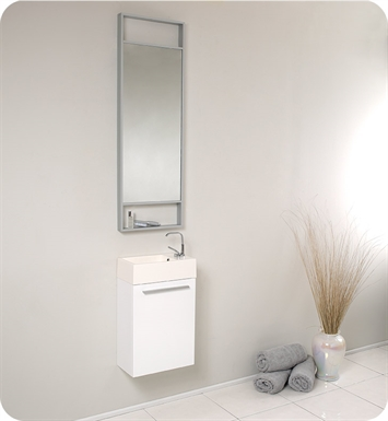 "Fresca FVN8002WH Pulito 16"" Small White Modern Bathroom Vanity with Tall Mirror"