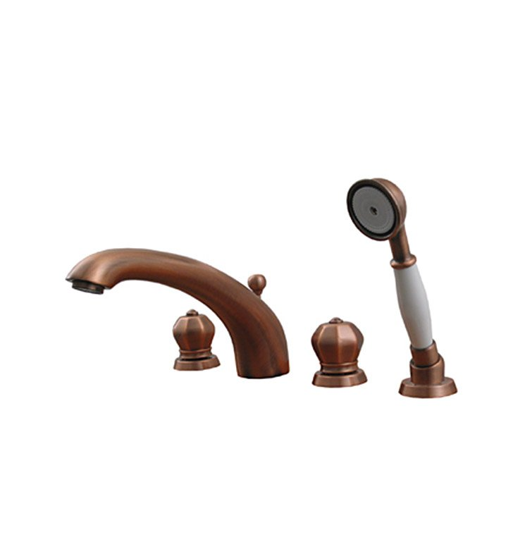 Whitehaus 614.423TF Bathhaus Washington Tub Filler Set, Deck Mount with Smooth Arcing Spout, Crown-shaped Turn Handles, Smooth Escutcheons, Hand held Shower and Built in Diverter