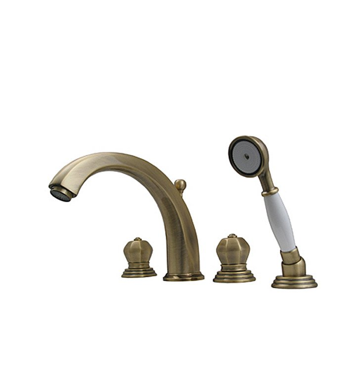 Whitehaus 514.423TF-C Bathhaus Washington Tub Filler Set, Deck Mount with Smooth Arcing Spout, Crown-shaped Turn Handles, Smooth Escutcheons, Hand held Shower and Built in Diverter With Finish: Polished Chrome