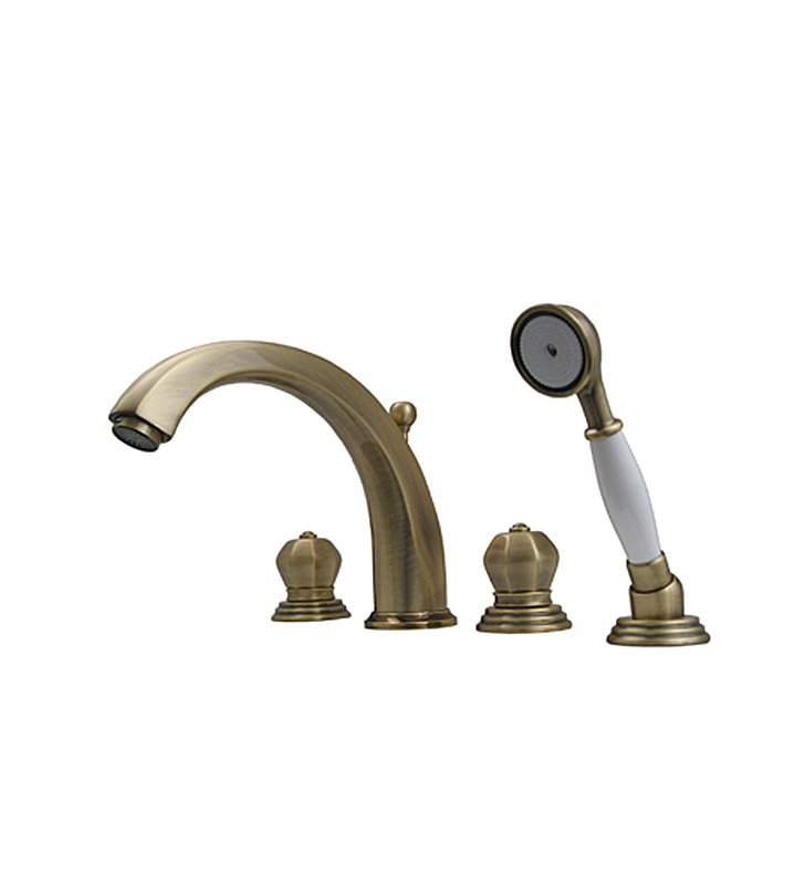 Whitehaus 514.423TF Bathhaus Washington Tub Filler Set, Deck Mount with Smooth Arcing Spout, Crown-shaped Turn Handles, Smooth Escutcheons, Hand held Shower and Built in Diverter