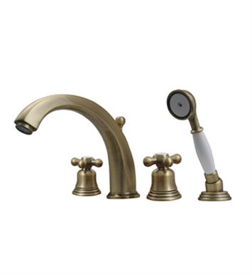 Whitehaus 514.463TF-BN Bathhaus McKinley Tub Filler Set, Deck Mount with smooth Arcing Spout, Bell-shaped Cross Handles, Smooth Escutcheons, Hand held Shower and Built in Diverter With Finish: Brushed Nickel