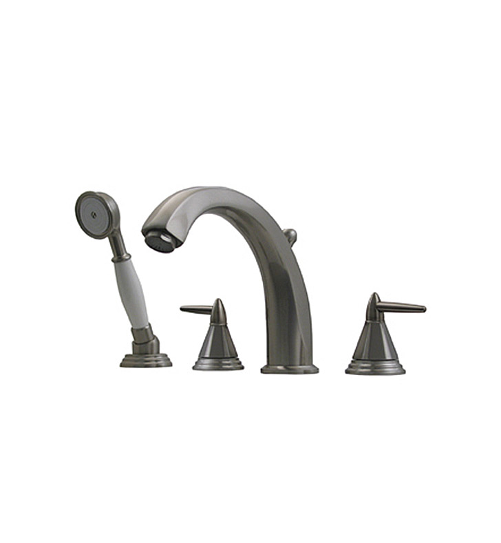 Whitehaus 514.453TF-C Bathhaus Monroe Tub Filler Set, Deck Mount with smooth Arcing Spout, Octagone-shaped Lever Handles, Smooth Escutcheons, Hand held Shower and Built in Diverter With Finish: Polished Chrome