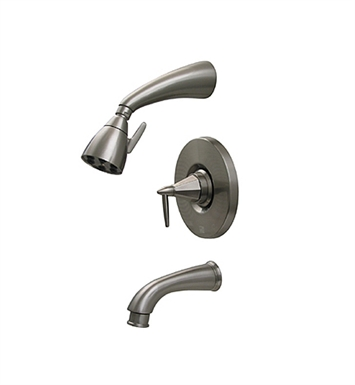 Whitehaus 614.855PR-ORB Blairhaus Monroe Pressure Balance Valve with Showerhead, Tub Spout with Pull-down Diverter and Octagon-shaped Lever Handle With Finish: Oil Rubbed Bronze