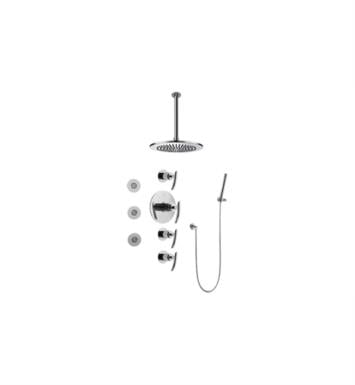Graff GB1.121A-LM24S-SN Tranquility Contemporary Round Thermostatic Set with Body Sprays and Handshower With Finish: Steelnox (Satin Nickel) And Rough / Valve: Trim + Rough