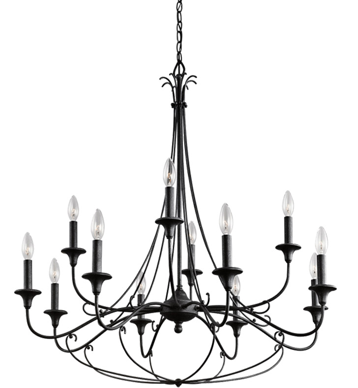 Kichler 43455DBK Basel Collection Chandelier 12 Light in Distressed Black