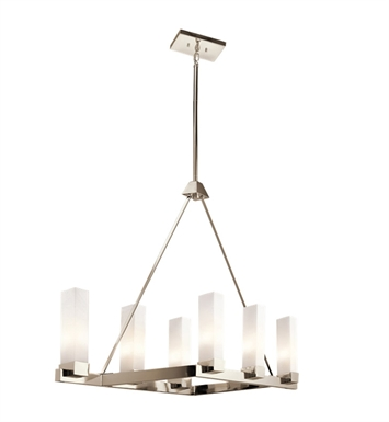 Kichler 42745PN Savina Collection Chandelier Linear 6 Light in Polished Nickel
