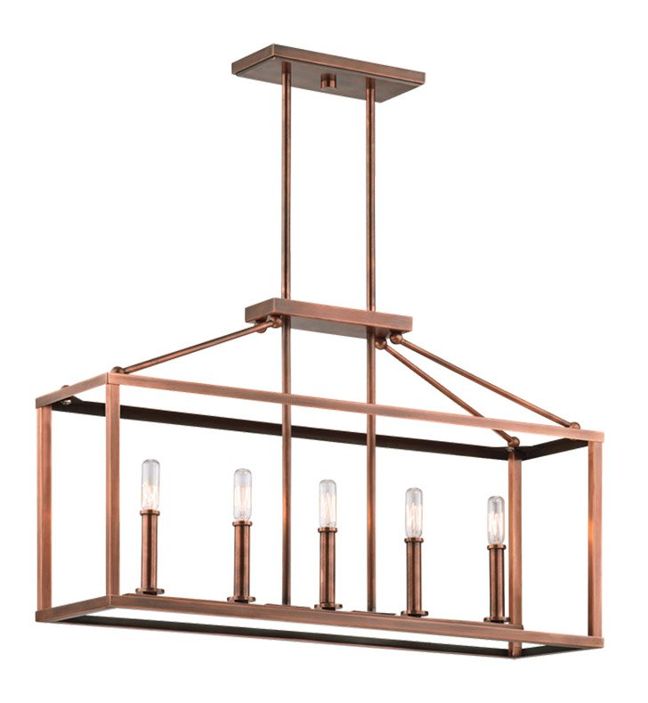 Kichler 43217ACO Archibald Collection Chandelier Linear 5 Light in Antique Copper