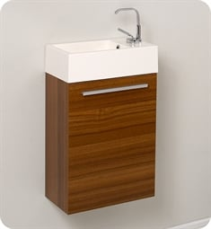 "Fresca FCB8002TK-I Pulito 16"" Small Teak Modern Bathroom Vanity with Integrated Sink"