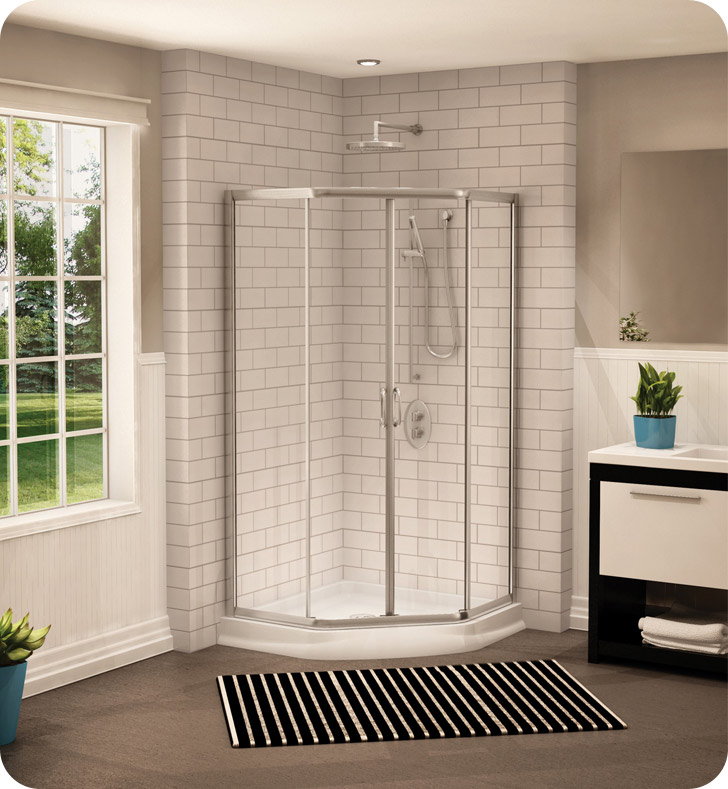 "Fleurco FAN36-25-65  Signature Capri 36"" Neo Angle Sliding Shower Doors With Hardware Finish: Brushed Nickel And Glass Type: Prism Glass"