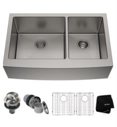 "Kraus KHF203-33-1610-53 Standart Pro 32 7/8"" Double Bowl Stainless Steel Farmhouse Kitchen Sink with Bolden Pull-Down Kitchen Faucet and Soap Dispenser"