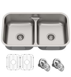 "Kraus KBU32 Premier 32"" Double Bowl Undermount Stainless Steel Rectangular Kitchen Sink"