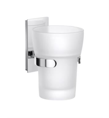 "Smedbo ZK343 Pool 1 5/8"" Wall Mount Frosted Glass Tumbler with Holder in Polished Chrome"