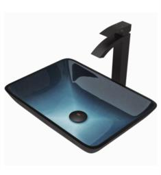 "Vigo VGT1032 18 1/4"" Rectangular Glass Bathroom Vessel Sink in Turquoise Water with Duris Vessel Faucet and Pop-up Drain in Matte Black"