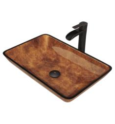 "Vigo VGT1055 22 1/2"" Rectangular Glass Bathroom Vessel Sink in Russet with Niko Vessel Faucet and Pop-up Drain in Antique Rubbed Bronze"