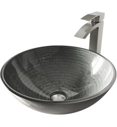"Vigo VGT603 16 1/2"" Simply Silver Glass Vessel Bathroom Sink with Duris Vessel Faucet in Brushed Nickel"