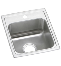 "Elkay PSR1517 Lustertone Classic 15"" Single Bowl Drop-In 20 Gauge Stainless Steel Bar Kitchen Sink in Brushed Satin"